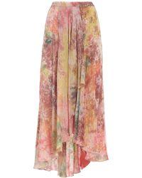 Mes Demoiselles Long Asymmetrical Skirt - Pink