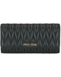 Miu Miu - Black Matelasse Nappa Leather Wallet - Lyst