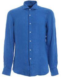 Fay Garment Dyed Light Blue Linen Shirt