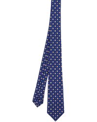 Kiton Patterned Silk Tie - Blue
