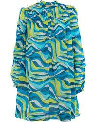 Michael Kors Multicolour Lawn Cotton Dress - Blue