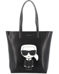 Karl Lagerfeld Ikonik Faux Leather Tote - Black