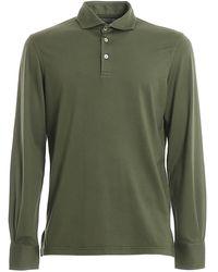 Fedeli Zero Jersey Long Sleeved Polo - Green