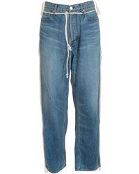 Ambush Drawstring Side-taped Jeans In Blue