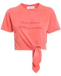 Giada Benincasa Logo Embroidery T-shirt - Pink