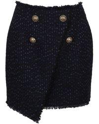Balmain Asymmetric 4 Button Tweed Wrap Skirt - Blue