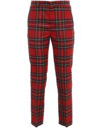 RED Valentino Tartan Virgin Wool Trousers - Red