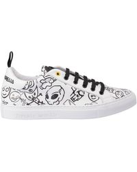 Frankie Morello Printed White Leather Trainers