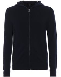 Michael Kors Soft Cotton And Wool Hooded Zip Cardigan - Blue