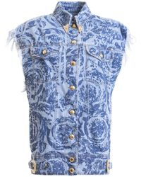 Versace Jeans Couture Floral Denim Sleeveless Jacket - Blue