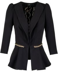 Elisabetta Franchi Chain Insert Black Blazer
