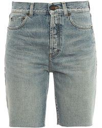 Saint Laurent Faded Denim Bermuda Shorts - Blue