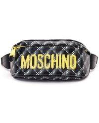 Moschino Pixel Print Leather Belt Bag - Black