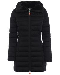 Save The Duck Black Polyester Coat