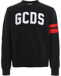 Gcds Logo Lettering Embroidery Cotton Sweatshirt - Black