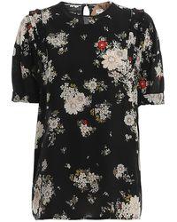 N°21 Blusa in seta a fiori - Nero