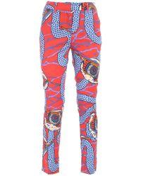 Stella Jean Pantalone stampa serpente rosso e azzurro - Blu
