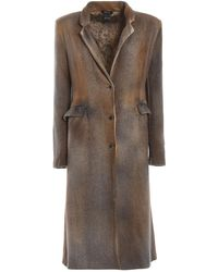 Avant Toi Faded Merino Wool Blend Fitted Coat - Gray