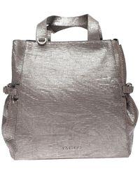Orciani Fan Printed Laminated Leather Medium Bag - Metallic