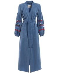 Bazar Deluxe Embroidered Belted Shirt Dress - Blue