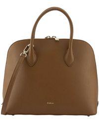 Furla Code Dome Leather Tote Bag - Brown