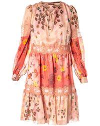 Blumarine Animal Print And Floral Silk Dress - Pink