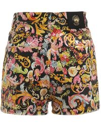 Versace Jeans Couture Shorts in denim con stampe - Nero