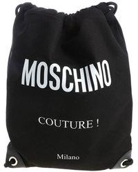 Moschino Black Drawstring Bag With Fabric Logo