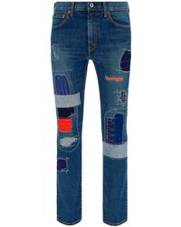 Junya Watanabe Contrasting Patch Jeans - Blue
