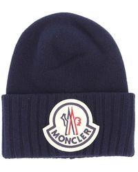 Moncler Oversized Logo Beanie - Blue