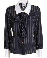 Edward Achour Paris Striped Satin Shirt - Black