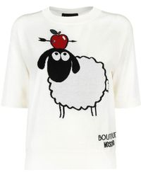 Boutique Moschino Sheep Embroidery Jumper In White