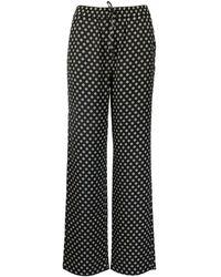 Michael Kors Polka Dots Viscose Pants - Black