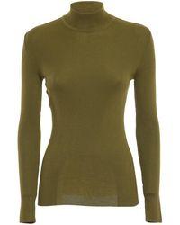Alberta Ferretti Pull in lana vergine a costine - Verde