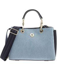 Tommy Hilfiger Satchel Th Core Denim Bag In Light Blue