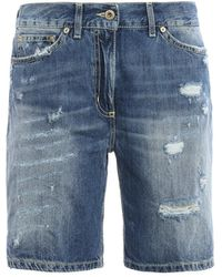 Dondup Newholly Faded Denim Shorts - Blue