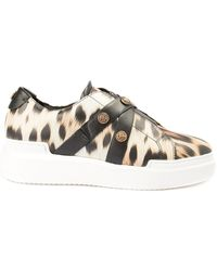 Roberto Cavalli Leopard Printed Leather Sneakers - Natural