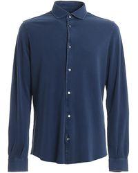 Fedeli Steve Organic Cotton Pique Shirt - Blue
