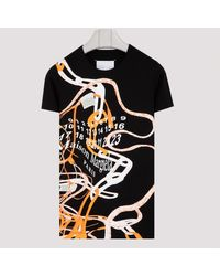 Maison Margiela Black T-shirt With Abstract Details M