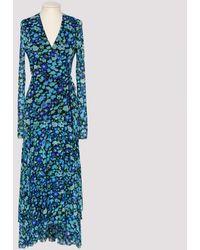 Ganni Blue Printed Mesh Wrap Dress
