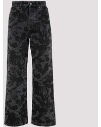 Balenciaga Gray Flower Printed Baggy Jeans 26