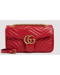 Gucci Gg Marmont Red Matelassé Small Shoulder Bag