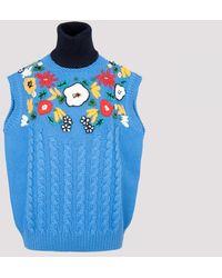 Miu Miu Wool Turtleneck Vest - Blue