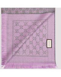 Gucci Gg Jacquard Pattern Knitted Scarf - Purple