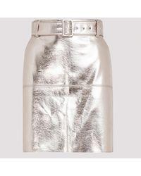 MSGM Metallic Platinum Faux Leather Skirt 40 - Multicolor