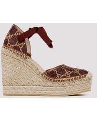 Gucci Heritage Gg Lamé Espadrille Sandals - Brown
