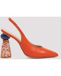 Jacquemus Loiza Orange Slingback Pumps