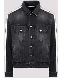 Palm Angels Black Wash Track Denim Jacket