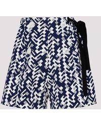 Prada Blue And White High Waist Shorts
