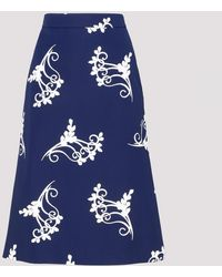 Prada Blue Cotton Poplin Midi Skirt